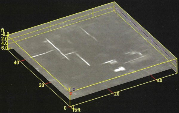A GPR amplitude map shows utility pipes as white lines and their depth, here 4 ft. The map represents a horizontal slice through a collection of intersecting GPR profiles. Source: Geophysical Survey Systems Inc.